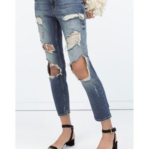 Zara Vintage Boyfriend Jeans Destroyed Ripped Edgy